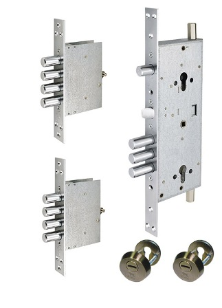 Замок MUL-T-LOCK DIN+DIN 415G CR ANTIQUE BRASS UNIV BS63мм 2 protectors